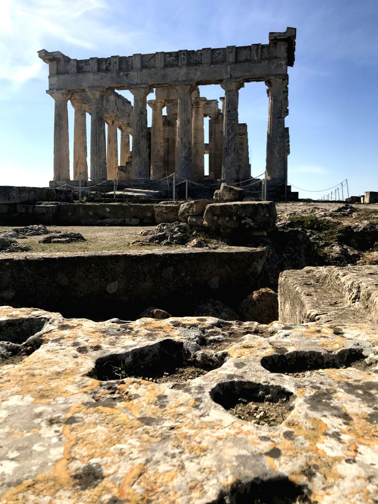 ATHENS, Feb. 2, 2018 - Photo taken on Jan. 28, 2018 shows the temple of Aphaia on the Greek island of Aigina, which lies about 30 km southwest of Athens.