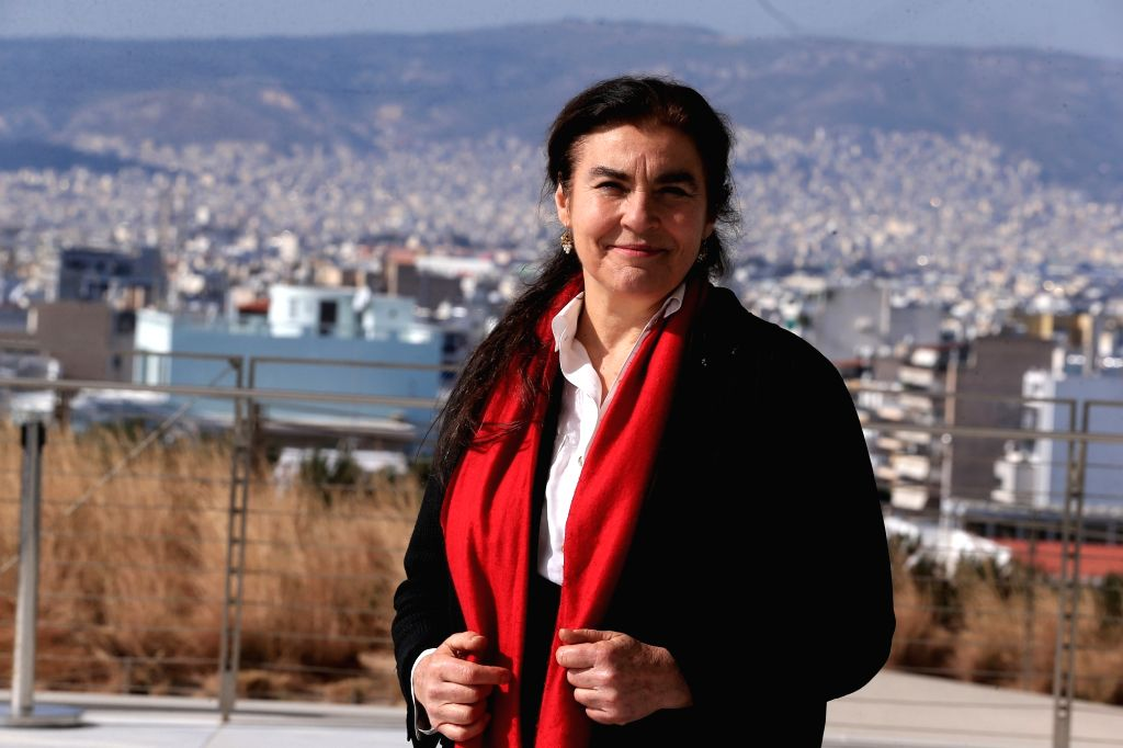 ATHENS, Feb. 20, 2019 - Lydia Koniordou, president of the Stavros Niarchos Foundation Cultural Center, poses for a photo at the Stavros Niarchos Foundation Cultural Center in Athens, Greece, on Feb. ...