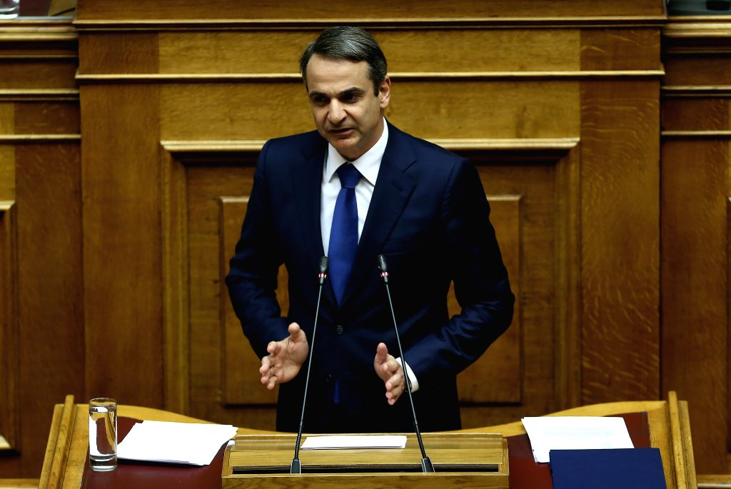 ATHENS, Feb. 8, 2019 - Greek main opposition New Democracy party leader Kyriakos Mitsotakis addresses Greek lawmakers on the Former Yugoslav Republic of Macedonia's (FYROM) NATO accession protocol, ...