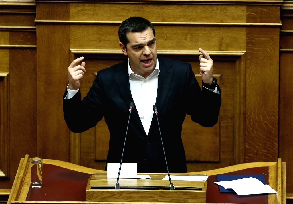 ATHENS, Feb. 8, 2019 - Greek Prime Minister Alexis Tsipras addresses Greek lawmakers on the Former Yugoslav Republic of Macedonia's (FYROM) NATO accession protocol, in Athens, Greece, on Feb. 8, ... - Alexis Tsipras