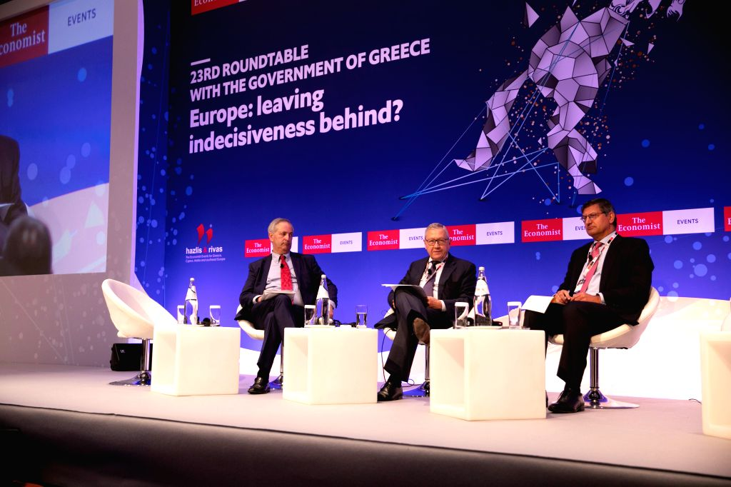 ATHENS, July 16, 2019 - Klaus Regling (C), Managing Director of the European Stability Mechanism (ESM), and Pavlos Mylonas (R), CEO of the National Bank of Greece, attend an economic forum in Athens, ... - Christos Staikouras