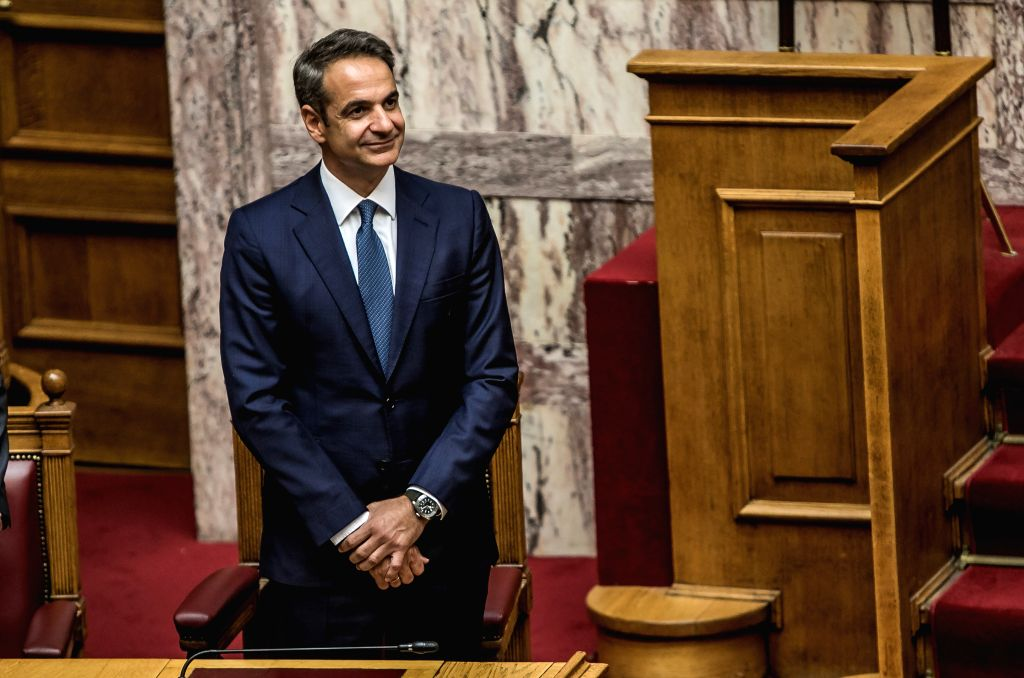 ATHENS, July 17, 2019 - Greek Prime Minister Kyriakos Mitsotakis attends the swearing-in ceremony of the new parliament at the Hellenic Parliament in Athens, Greece, on July 17, 2019. The 300 ... - Kyriakos Mitsotakis