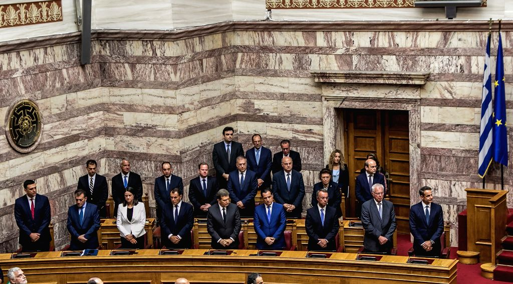 ATHENS, July 17, 2019 - Greek Prime Minister Kyriakos Mitsotakis and newly appointed cabinet members attend the swearing-in ceremony of the new parliament at the Hellenic Parliament in Athens, ... - Kyriakos Mitsotakis