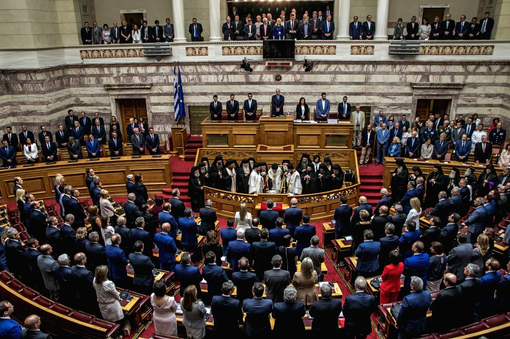 ATHENS, July 17, 2019 - Members of the new Greek parliament are sworn in at the Hellenic Parliament in Athens, Greece, on July 17, 2019. The 300 deputies of the 18th session of the Greek Parliament, ...
