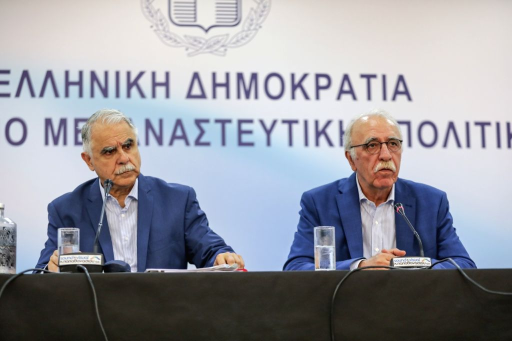 ATHENS, July 18, 2018 - Greek Migration Minister Dimitris Vitsas (R) attends a press conference in Athens, Greece, on July 18, 2018. Greek Migration Minister Dimitris Vitsas urged on Wednesday all EU ... - Dimitris Vitsas