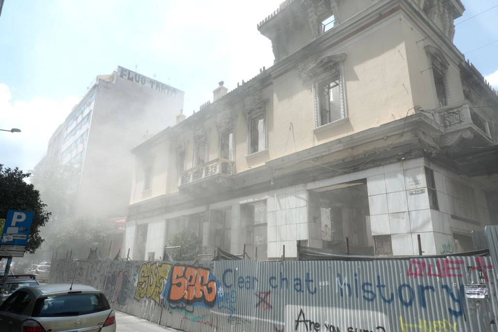 ATHENS, July 19, 2019 - A damaged building is seen after an earthquake in Athens, Greece on July 19, 2019. A strong earthquake measuring 5.3 on the Richter scale jolted Athens on Friday, according to ...