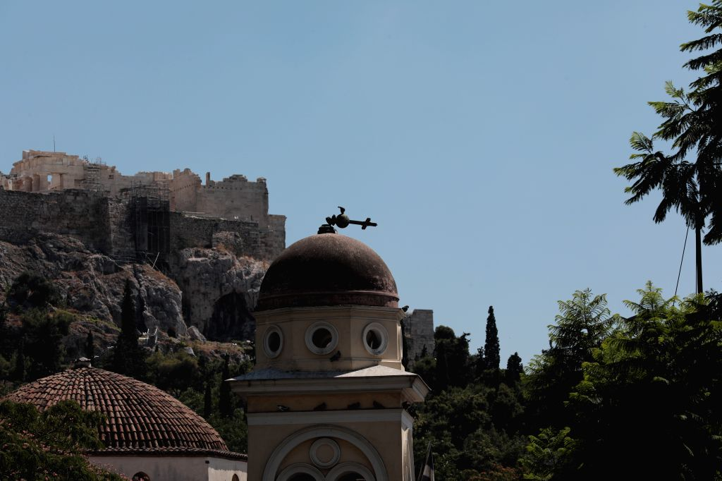 ATHENS, July 19, 2019 - A damaged church is seen at Monastiraki Square after an earthquake in Athens, Greece on July 19, 2019. A strong earthquake measuring 5.3 on the Richter scale jolted Athens on ...