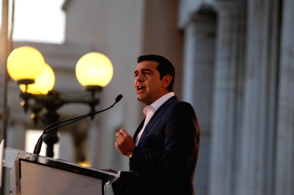 ATHENS, July 25, 2016 - Greek Prime Minister Alexis Tsipras speaks about the constitution reform outside the parliament building in Athens, Greece on July 25, 2016. - Alexis Tsipras