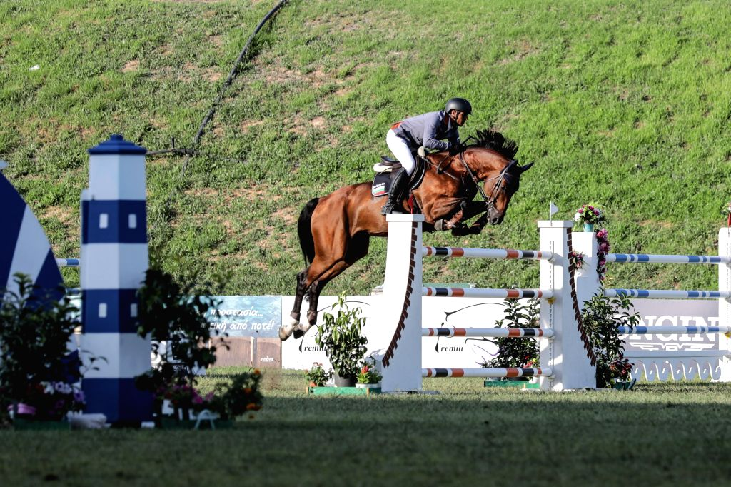 ATHENS, July 29, 2019 - Angel Niagolov of Bulgaria competes during the Longines FEI Jumping Nations Cup Division 2 Final held at the Olympic Horse-Riding Center in Markopoulo, southeast of Athens, ...