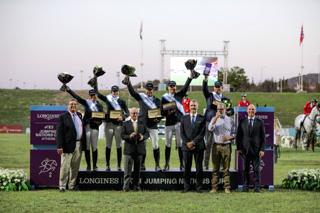ATHENS, July 29, 2019 - Winners recieve their medals after the Longines FEI Jumping Nations Cup Division 2 Final held at the Olympic Horse-Riding Center in Markopoulo, southeast of Athens, Greece on ...
