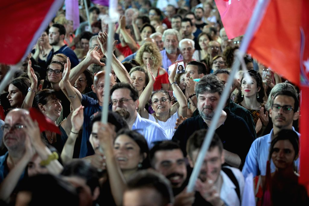 ATHENS, July 6, 2019 (Xinhua) -- People applaud at the main pre-electoral rally of the Greek Prime Minister Alexis Tsipras on Syntagma Square in Athens, Greece on July 5, 2019. In the final stretch to Sunday's national elections, Greek Prime Minister - Alexis Tsipras