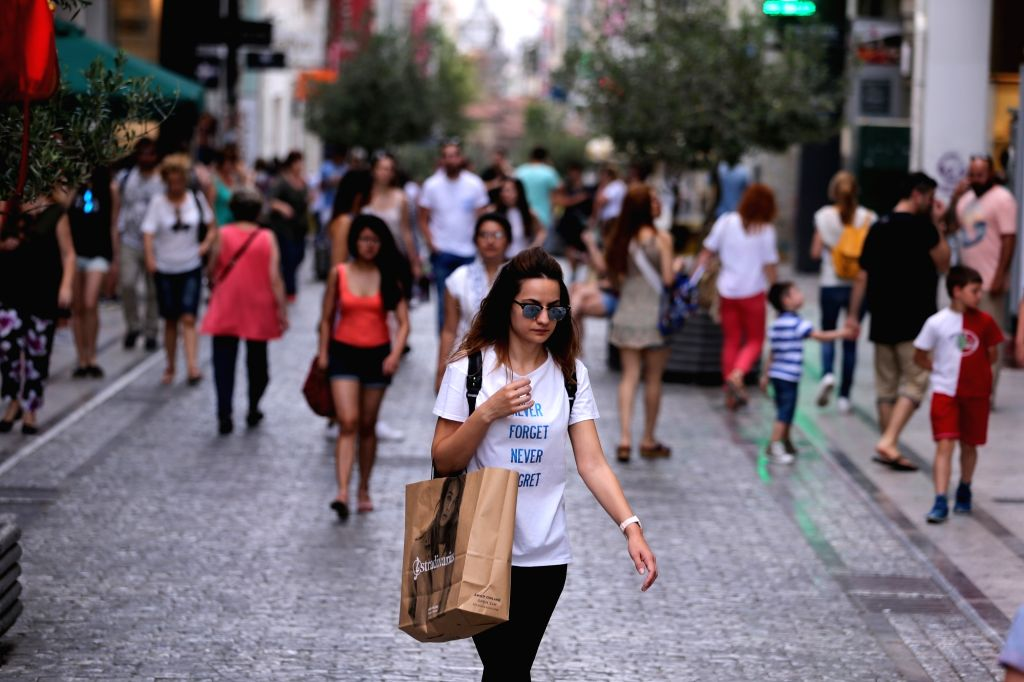 ATHENS, June 16, 2017 - People walk on the main shopping street in Athens, capital of Greece, on June 16, 2017. Greek Prime Minister Alexis Tsipras hailed on Friday the compromise deal struck on ... - Alexis Tsipras