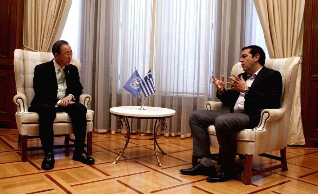 ATHENS, June 18, 2016 - Visiting UN Secretary-General Ban Ki-moon (L) meets with Greek Prime Minister Alexis Tsipras in Athens, capital of Greece, on June 18, 2016. UN Secretary-General Ban Ki-moon ... - Alexis Tsipras