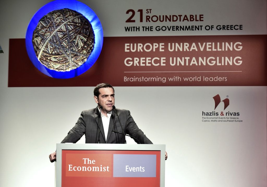 ATHENS, June 29, 2017 - Greek Prime Minister Alexis Tsipras delivers a speech at an economic forum in Athens, Greece, on June 29, 2017. Greece is gradually untangling from chronic recession and ... - Alexis Tsipras
