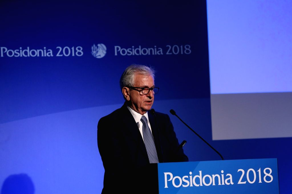 ATHENS, June 4, 2018 - Theodore Veniamis, President of the Union of Greek Shipowners, speaks during the opening ceremony of the International Shipping Exhibition of Posidonia in Athens, Greece, on ... - Alexis Tsipras