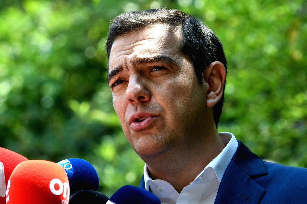 ATHENS, June 6, 2019 (Xinhua) -- Greek Prime Minister Alexis Tsipras speaks to the media in Athens, Greece, on June 6, 2019. Greece is at risk of returning to the days of austerity depending on the result of the forthcoming national elections on July - Alexis Tsipras