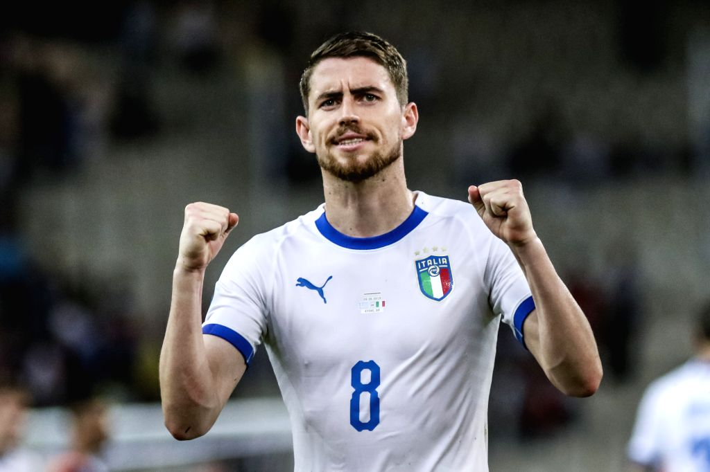 ATHENS, June 9, 2019 - Italy's Jorginho celebrates after the UEFA Euro 2020 Group J qualifier soccer match in Athens, Greece, June 8, 2019.