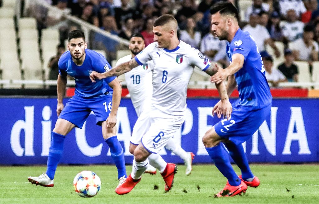 ATHENS, June 9, 2019 - Italy's Marco Verratti (C) competes during the UEFA Euro 2020 Group J qualifier soccer match in Athens, Greece, June 8, 2019.