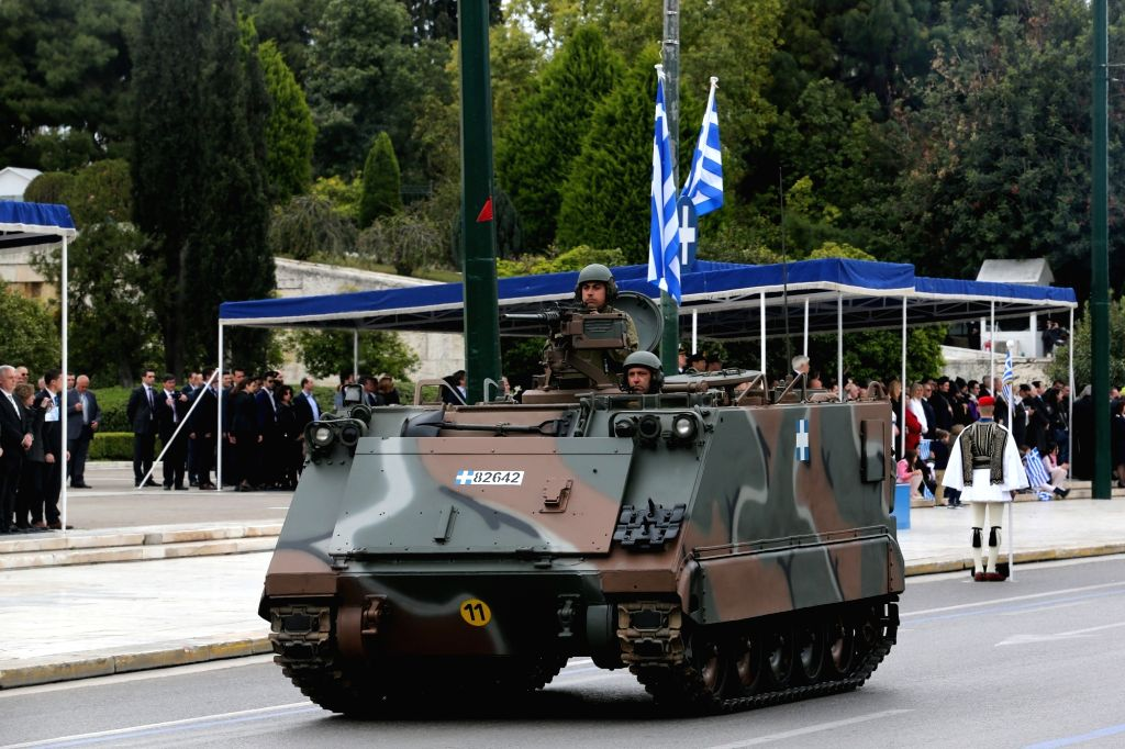 ATHENS, March 25, 2018 - A Greek army tank drives past the Greek Parliament during a military parade marking the Greek Independence Day in Athens, Greece, on March 25, 2018. Greece celebrated on ...