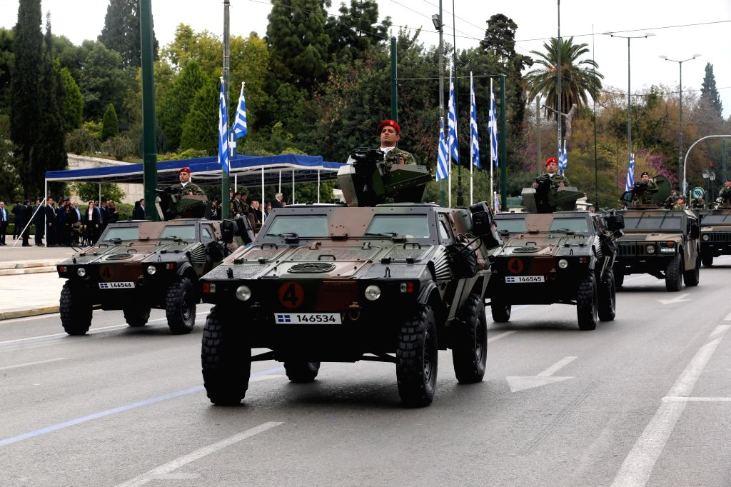 ATHENS, March 25, 2018 - Greek army tanks drive past the Greek Parliament during a military parade marking the Greek Independence Day in Athens, Greece, on March 25, 2018. Greece celebrated on Sunday ...