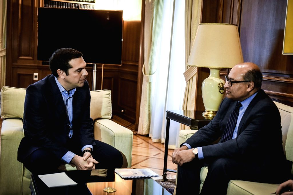 ATHENS, March 27, 2018 - Greek Prime Minister Alexis Tsipras (L) talks with European Bank for Reconstruction and Development (EBRD) President Suma Chakrabarti during their meeting in Athens, Greece, ... - Alexis Tsipras