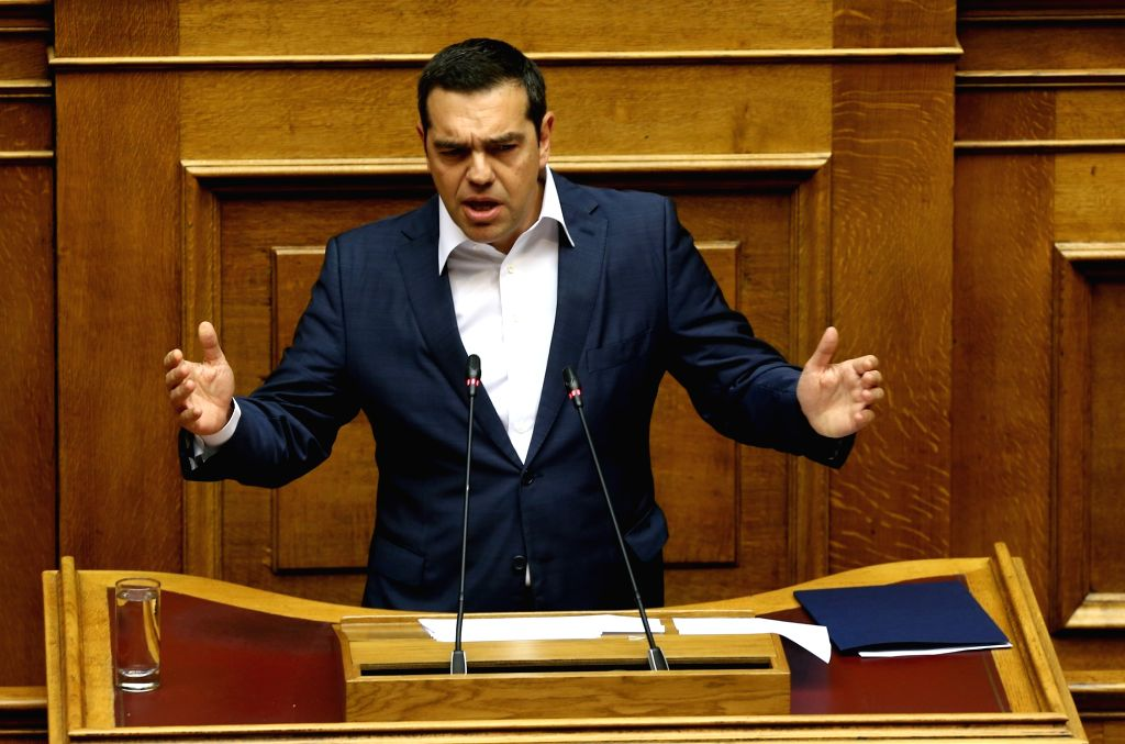 ATHENS, May 10, 2019 - Greek Prime Minister Alexis Tsipras addresses lawmakers at the Greek Parliament, in Athens, Greece, on May 10, 2019. The government of Greek Prime Minister Alexis Tsipras won a ... - Alexis Tsipras