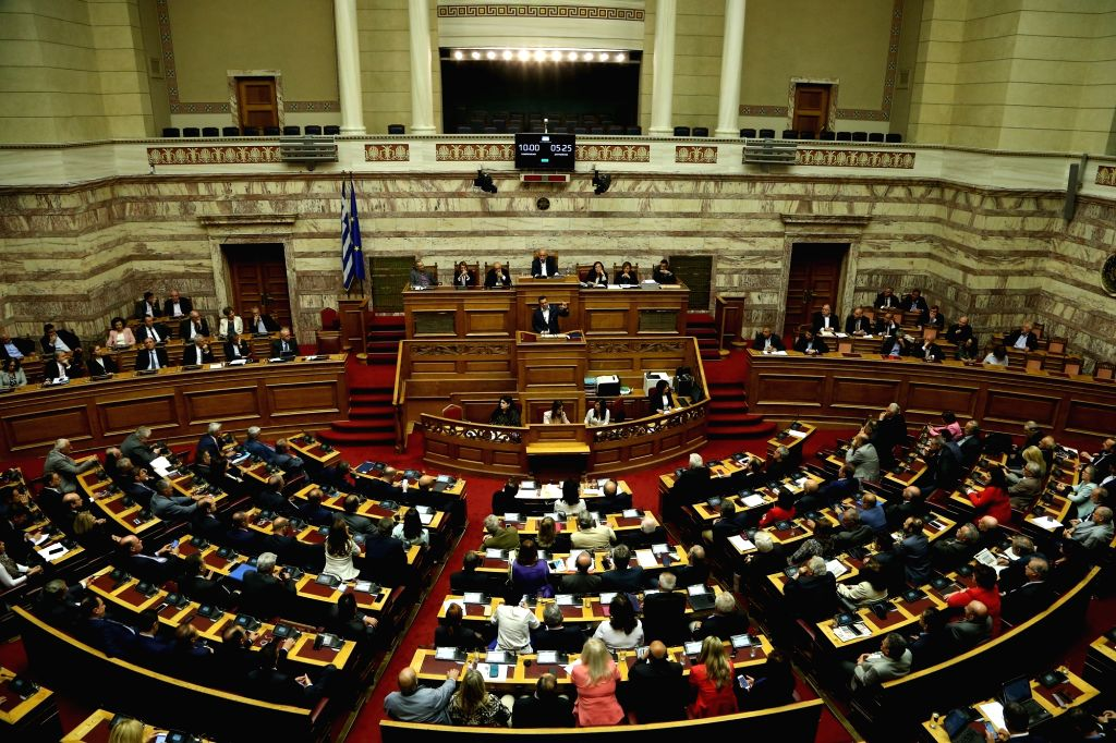 ATHENS, May 10, 2019 - The photo taken on May 10, 2019 shows a general view of the Greek Parliament in Athens, Greece. The government of Greek Prime Minister Alexis Tsipras won a confidence vote in ... - Alexis Tsipras