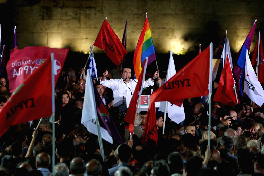 ATHENS, May 24, 2019 - Greek Prime Minister Alexis Tsipras addresses his supporters at a pre-election rally in Athens, Greece, on May 24, 2019. Alexis Tsipras on Friday asked for a vote of confidence ... - Alexis Tsipras