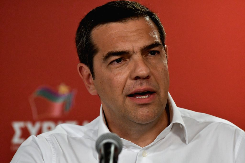 ATHENS, May 26, 2019 - Greek Prime Minister Alexis Tsipras makes a statement in Athens, Greece, on May 26, 2019. Greek Prime Minister Alexis Tsipras announced his intention to call early national ... - Alexis Tsipras