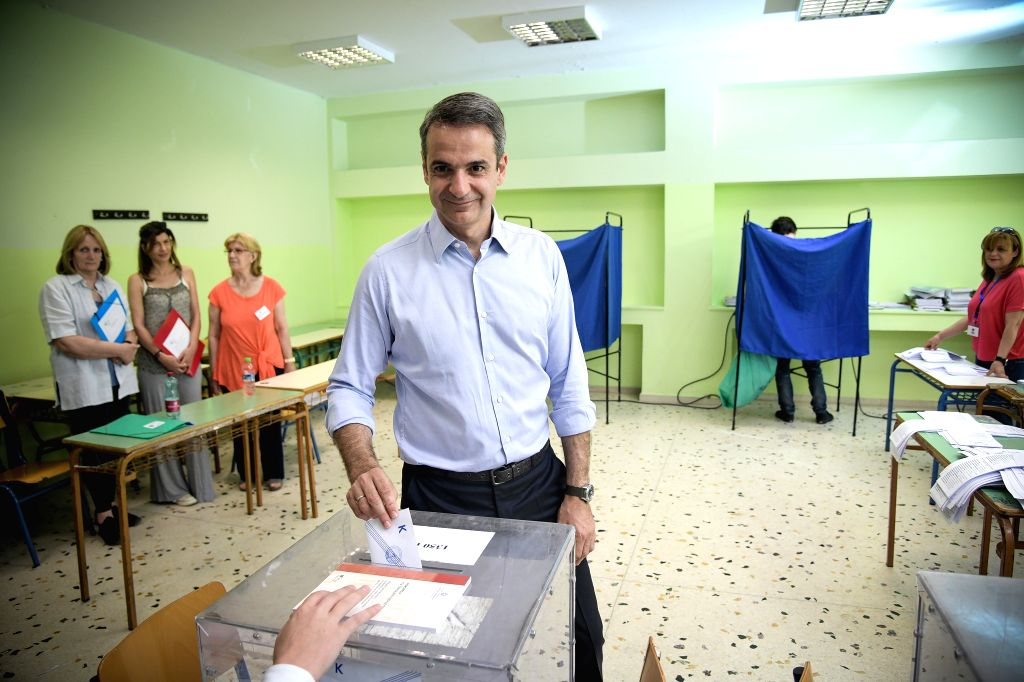 ATHENS, May 26, 2019 - Kyriakos Mitsotakis, Greek main opposition New Democracy party leader, votes at a polling station in Athens, Greece, May 26, 2019. The European Parliament elections started in ...