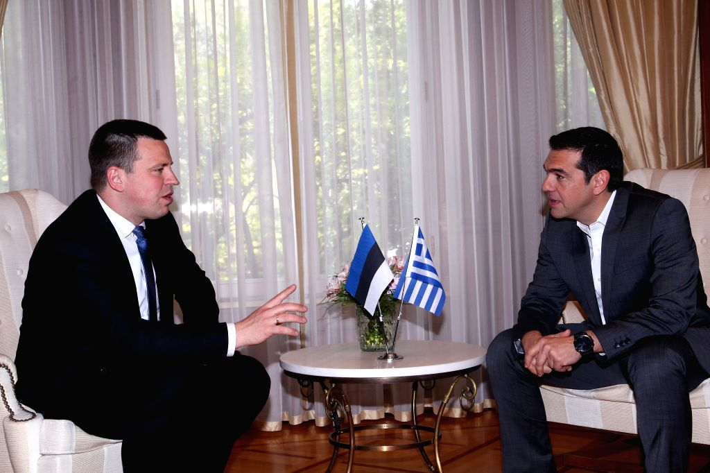 ATHENS, May 29, 2017 - Greek Prime Minister Alexis Tsipras (R) holds talks with his Estonian counterpart Juri Ratas in Athens, Greece, on May 29, 2017. Greek Prime Minister Alexis Tsipras welcomed ... - Alexis Tsipras