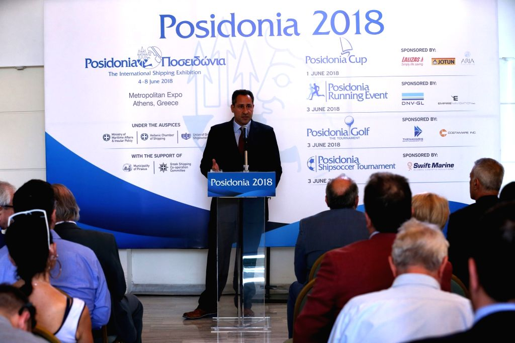 ATHENS, May 31, 2018 - Executive Director of Posidonia Exhibitions Theodore Vokos (C) speaks at a press conference of the International Shipping Exhibition of Posidonia in Athens, Greece, on May 31, ...
