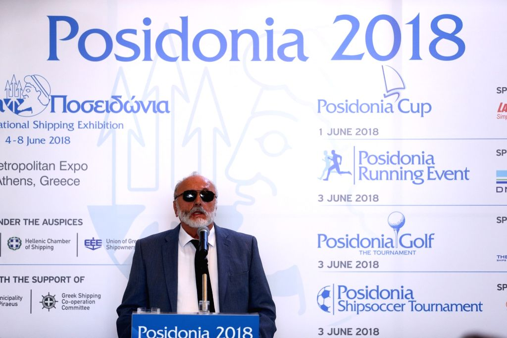 ATHENS, May 31, 2018 - Greek Minister of Maritime Affairs and Insular Policy Panagiotis Kouroumplis speaks at a press conference of the International Shipping Exhibition of Posidonia in Athens, ...