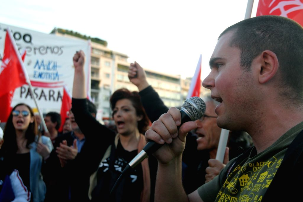 ATHENS, May 8, 2016 - Protesters take part in an anti-austerity rally in front of the parliament in Athens, Greece on May 8, 2016.