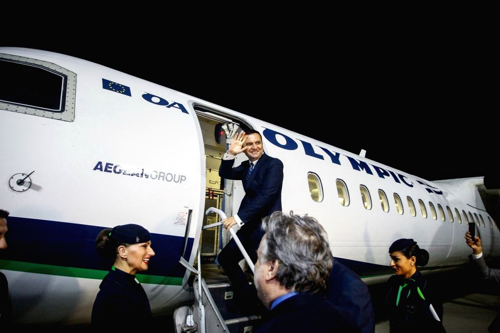 ATHENS, Nov. 1, 2018 - Deputy Prime Minister of the Former Yugoslav Republic of Macedonia (FYROM) Bujar Osmani waves as he gets on a plane to Skopje at Athens International Airport, Athens, Greece, ... - George Katrougalos