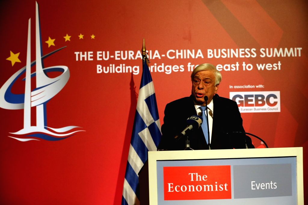 ATHENS, Oct. 10, 2017 - Greek President Prokopis Pavlopoulos addresses the EU-Eurasia-China Business summit in Athens, Greece, on Oct. 9, 2017. Prokopis Pavlopoulos praised the significance of the ...