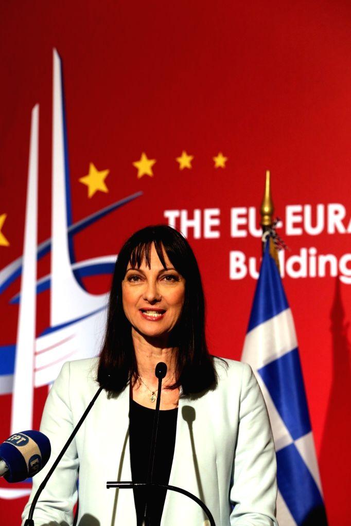 ATHENS, Oct. 10, 2017 - Greek Tourism Minister Elena Kountoura addresses the EU-Eurasia-China Business summit in Athens, Greece, on Oct. 9, 2017. - Elena Kountoura