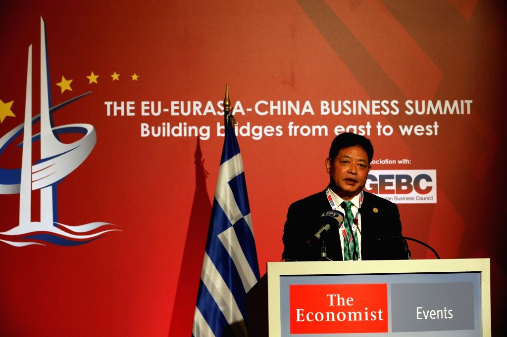 ATHENS, Oct. 10, 2017 - Lu Jianzhong, founding Chairman of Silk Road Chamber of International Commerce (SRCIC), addresses the EU-Eurasia-China Business summit in Athens, Greece, on Oct. 9, 2017.