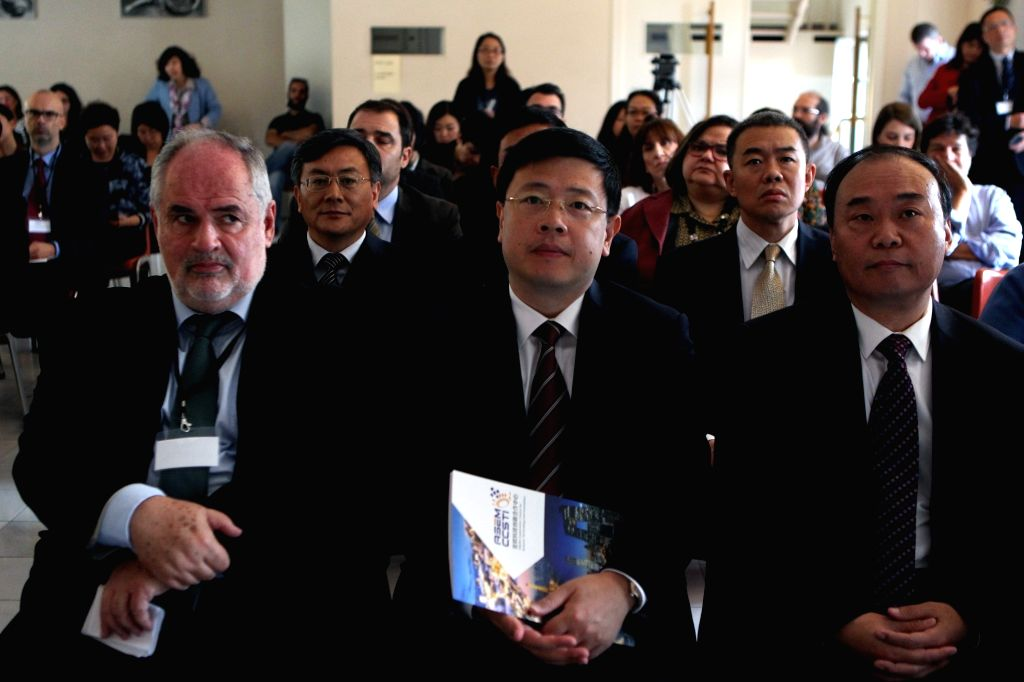 ATHENS, Oct. 25, 2016 - Chinese ambassador to Greece Zou Xiaoli(C) attends the 2nd ASEM Seminar on Cooperation in Science, Technology and Innovation for Sustainable Development held in Athens, Greece ...