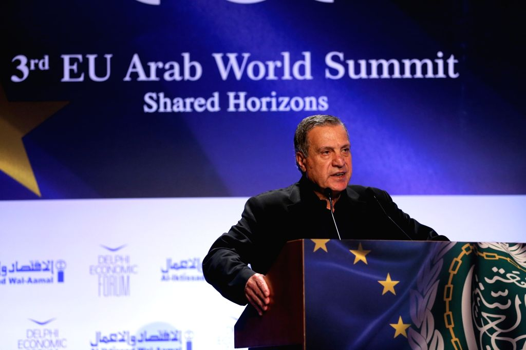 ATHENS, Oct. 29, 2018 (Xinhua) -- Palestinian Deputy Prime Minister and Minister of Information Nabil Abu Rudeineh addresses the 3rd EU-Arab World Summit in Athens, Greece, on Oct. 29, 2018. More than 500 delegates from over 30 countries, including h