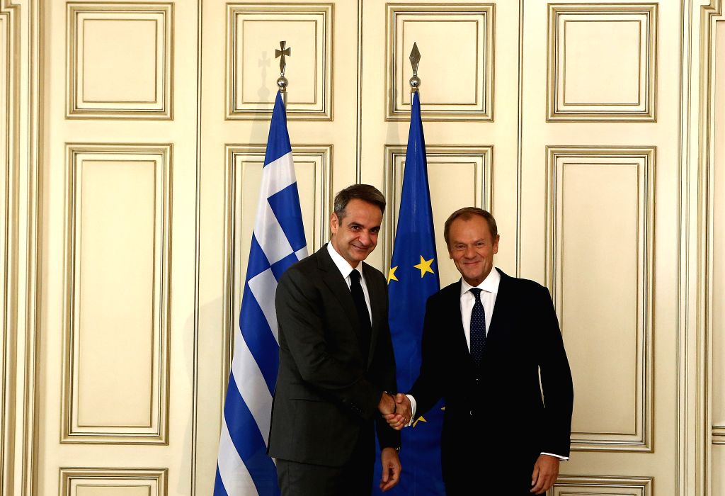 ATHENS, Oct. 9, 2019 - Greek Prime Minister Kyriakos Mitsotakis (L) shakes hands with President of the European Council Donald Tusk during their meeting in Athens, Greece, on Oct. 9, 2019. - Kyriakos Mitsotakis