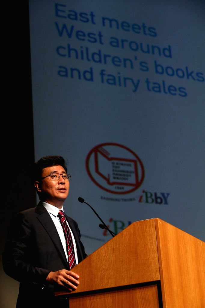 ATHENS, Sept. 1, 2018 - Newly elected President of International Board on Books for Young People (IBBY) Zhang Mingzhou addresses the 36th IBBY International Congress in Athens, Greece, on Sept. 1, ...