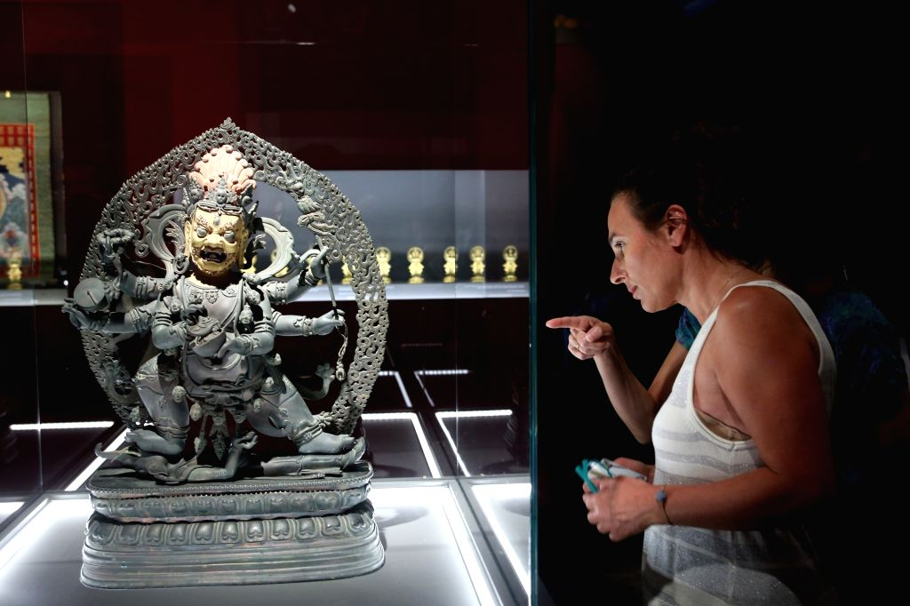 """ATHENS, Sept. 12, 2018 - A bronze statuette of Mahakala is seen at the exhibition titled """"From the Forbidden City: The imperial apartments of Qianlong"""" at the Acropolis Museum in Athens, ..."""