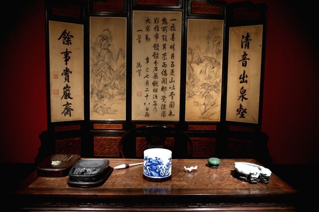 """ATHENS, Sept. 12, 2018 - The study room of Qianlong in the Palace of Many Splendors is seen at the exhibition titled """"From the Forbidden City: The imperial apartments of Qianlong"""" at the ..."""