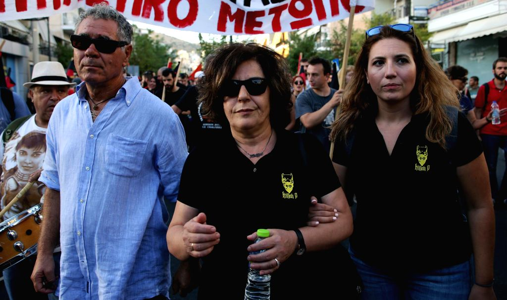 ATHENS, Sept. 18, 2017 - Magda Fyssa (C), mother of murdered anti-fascist activist and musician Pavlos Fyssas, takes part in a rally at Piraeus near the capital Athens, Greece on Sept. 18, 2017. The ...
