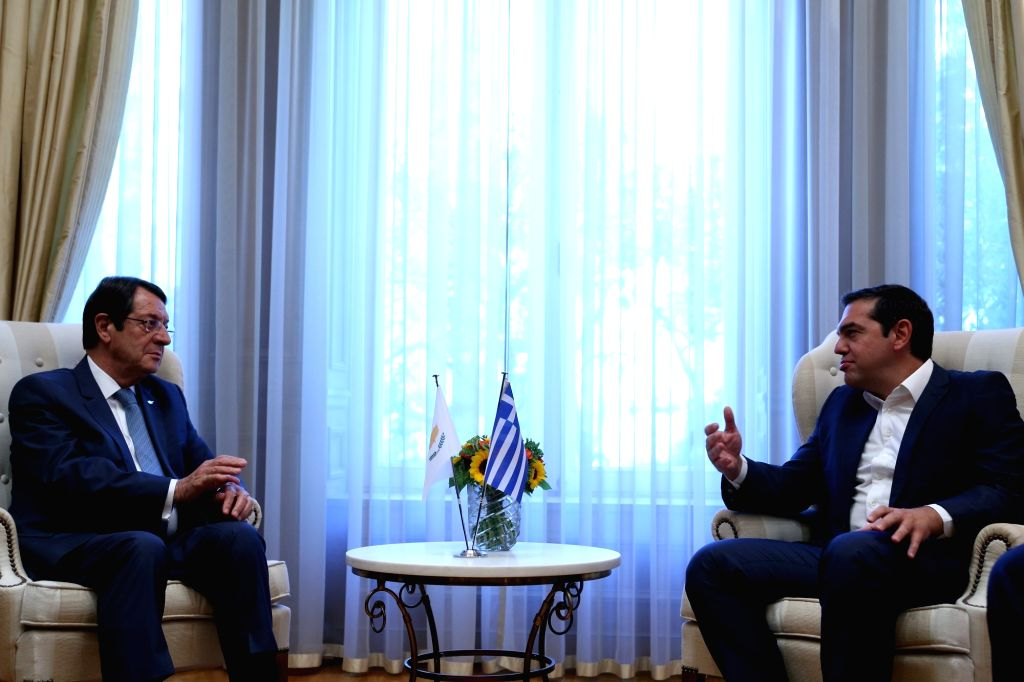 ATHENS, Sept. 18, 2018 - Greek Prime Minister Alexis Tsipras (R) meets Cyprus President Nicos Anastasiades at the Prime Minister's Office in Athens, Greece, on Sept. 17, 2018. Greek Prime Minister ... - Alexis Tsipras