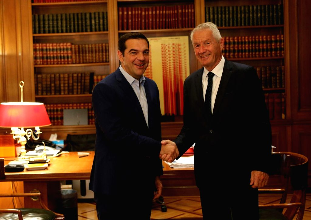 ATHENS, Sept. 18, 2018 - Greek Prime Minister Alexis Tsipras (L) shakes hands with Council of Europe Secretary General Thorbjorn Jagland during their meeting in Athens, Greece, on Sept. 18, 2018. ... - Alexis Tsipras