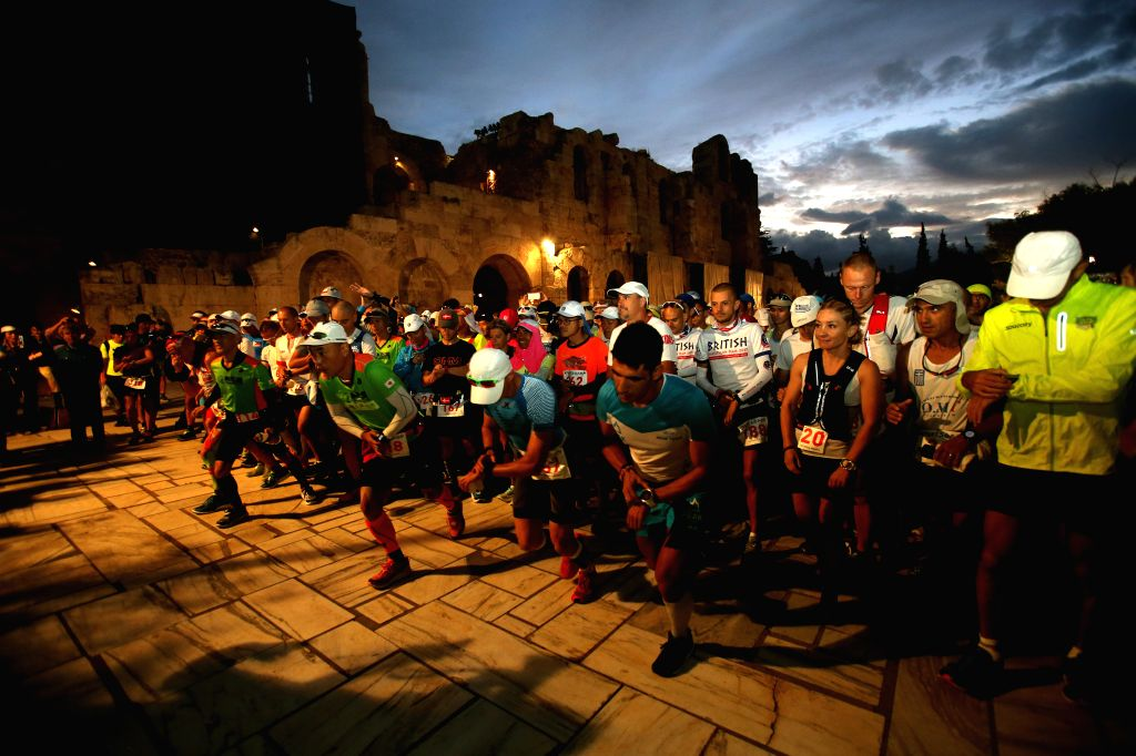 ATHENS, Sept. 29, 2017 - Athletes start at the 35th edition of the annual ultra-marathon race Spartathlon from Athens to Sparta, started at the foot of the Acropolis hill in Athens, Greece, Sept. 29, ...