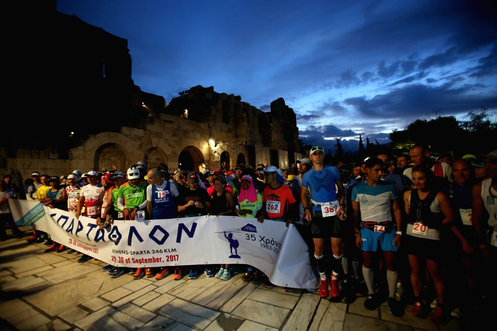 ATHENS, Sept. 29, 2017 - Athletes wait for the start of the 35th edition of the annual ultra-marathon race Spartathlon from Athens to Sparta, started at the foot of the Acropolis hill in Athens, ...