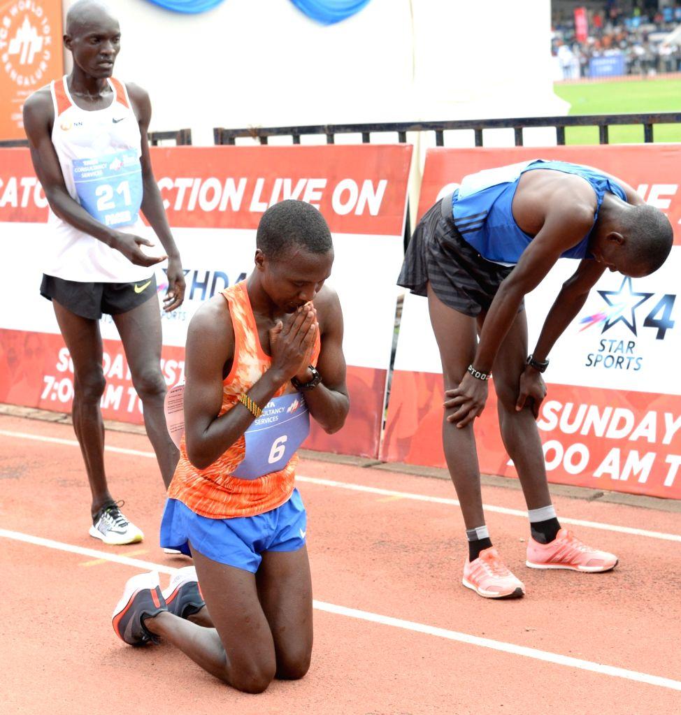 Athletes Alex Korio (winner), Edwin Kiptoo (first runner up) and Stephen Kissa (Second Runner up) during TCS World 10K 2017 in Bengaluru on May 21, 2017.